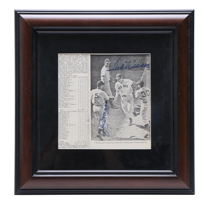 Joe DiMaggio and Ted Williams Signed Framed Baseball Display, JSA Full Letter