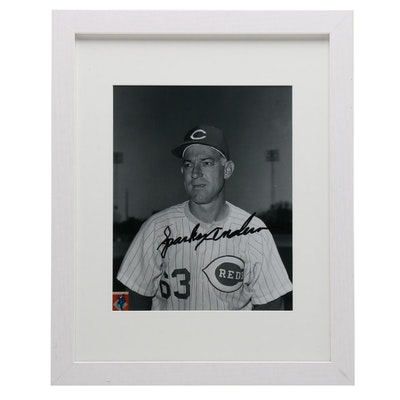 Sparky Anderson Signed Black-and-White Framed Baseball Print, CEI COA