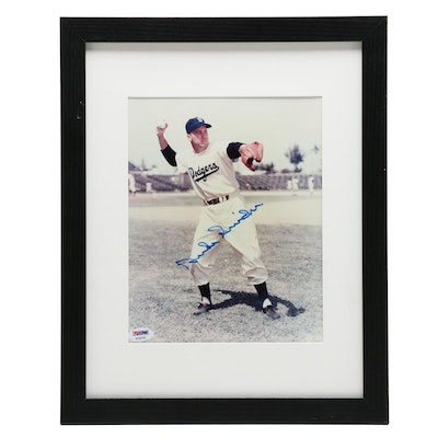 Duke Snider Signed Brooklyn Dodgers Matted and Framed Photo Print, PSA/DNA COA