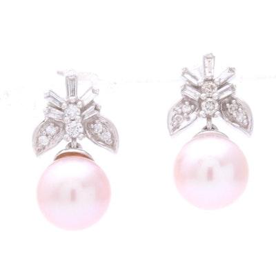 14K White Gold Pearl and Diamond Earrings