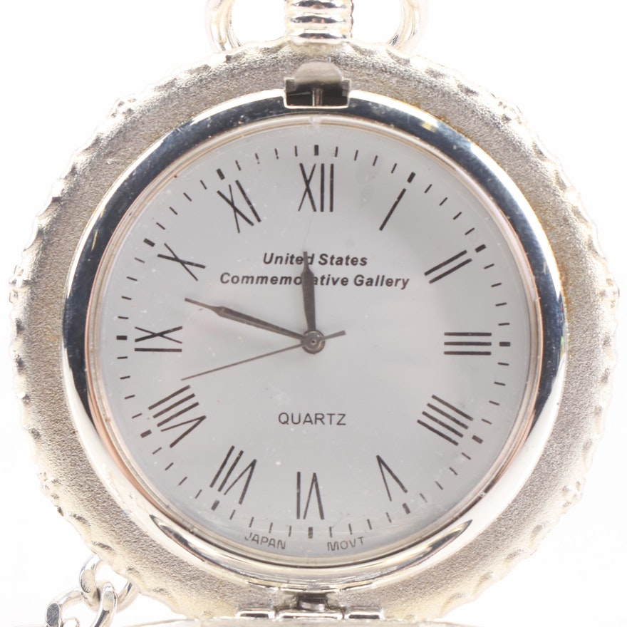 United States Commemorative Gallery Silver Dollar Pocket Watch