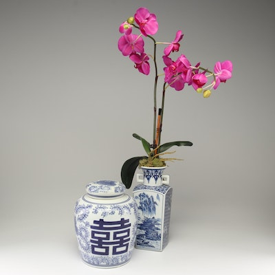 Chinese Style Blue and White Porcelain with Artificial Orchid Plant