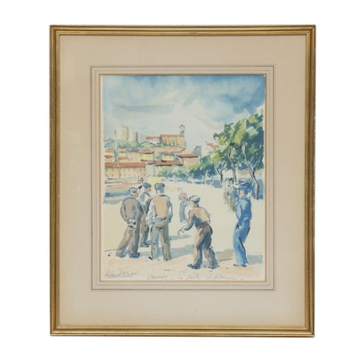 """Roland Atlan Watercolor Painting """"City of Cannes"""""""