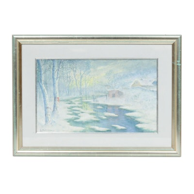 """Gulbrand Sether Watercolor Painting """"The Creek in Winter"""""""