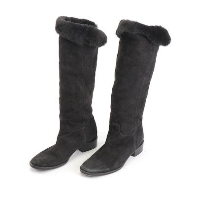 Max Mara Black Suede Shearling Boots