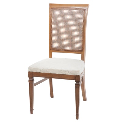 Cane Back Chair with Crewel Upholstered Seat