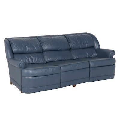 Contemporary Ethan Allen Blue Leather Sofa with Leg Rests