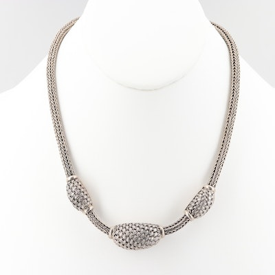 Sterling Silver Woven and Wheat Chain Necklace