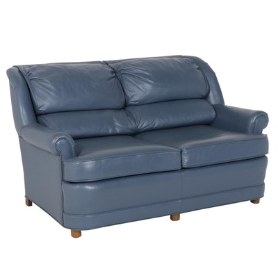 Contemporary Ethan Allen Blue Leather Loveseat