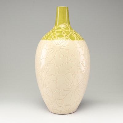 "Vietnamese ""Sitcom"" Incised Floral Ceramic Bud Vase"