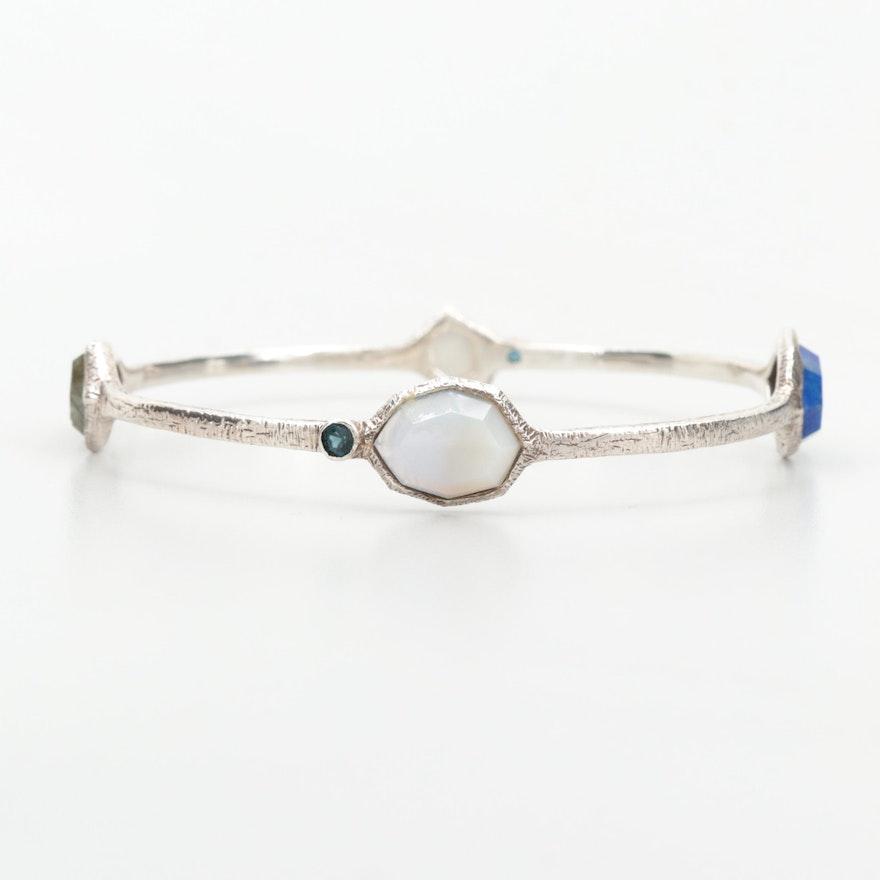 Sterling Silver Bangle Bracelet with Labradorite, Lapis Lazuli and Agate