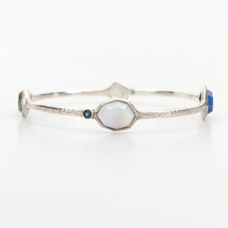 Sterling Silver Bangle Bracelet with Labradorite, Lapis Lazuli and Agate