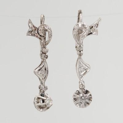 Vintage 10K White Gold Diamond Drop Earrings