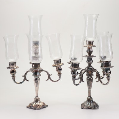 """Wallace """"Baroque"""" Silver Plate and Etched Glass 5 Light Candelabras"""
