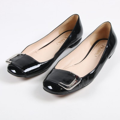 Prada Black Patent Leather Buckle Flats