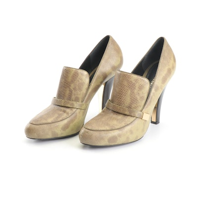 Devi Kroell Karung Pumps with Wooden Heels in Celadon and Brown