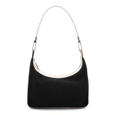 Gucci Black Canvas and Ivory Leather Hobo Shoulder Bag, Vintage