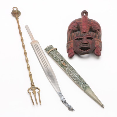 Brass Fork, Islamic Style Dagger, and African Style Wooden Mask
