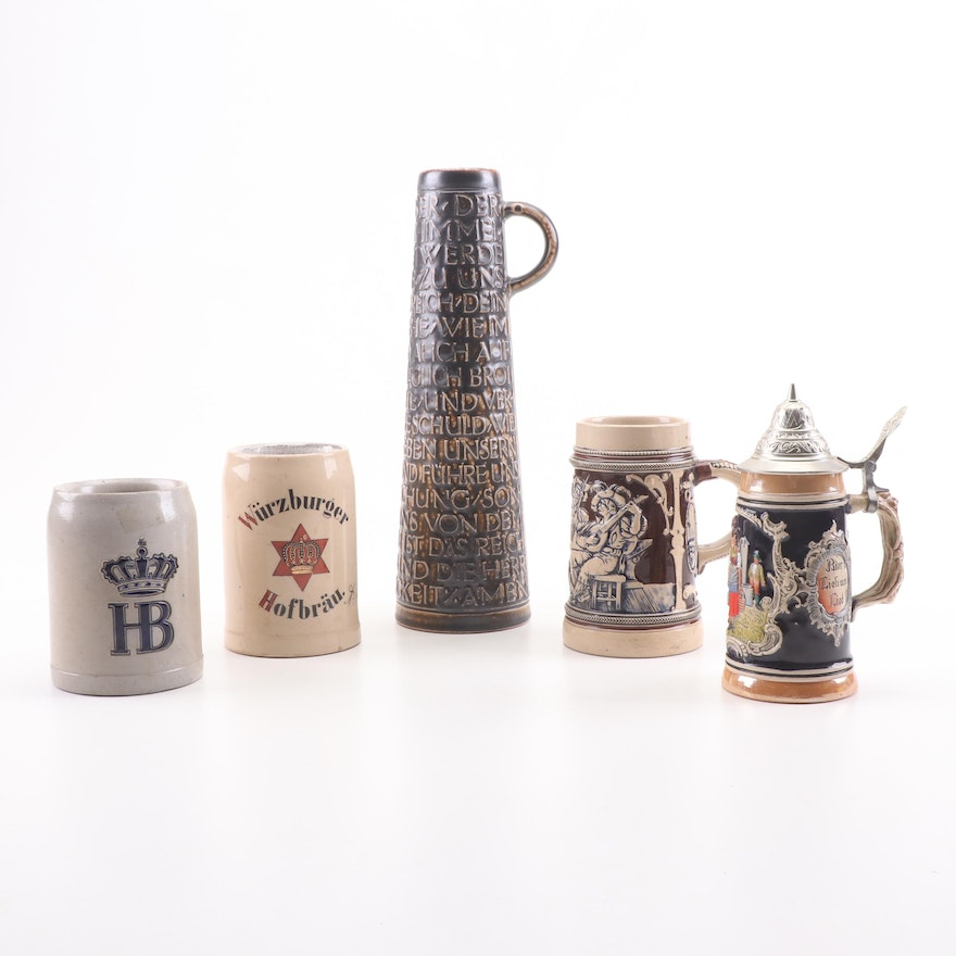 German Beer Stein Assortment Featuring Lords Prayer Stein