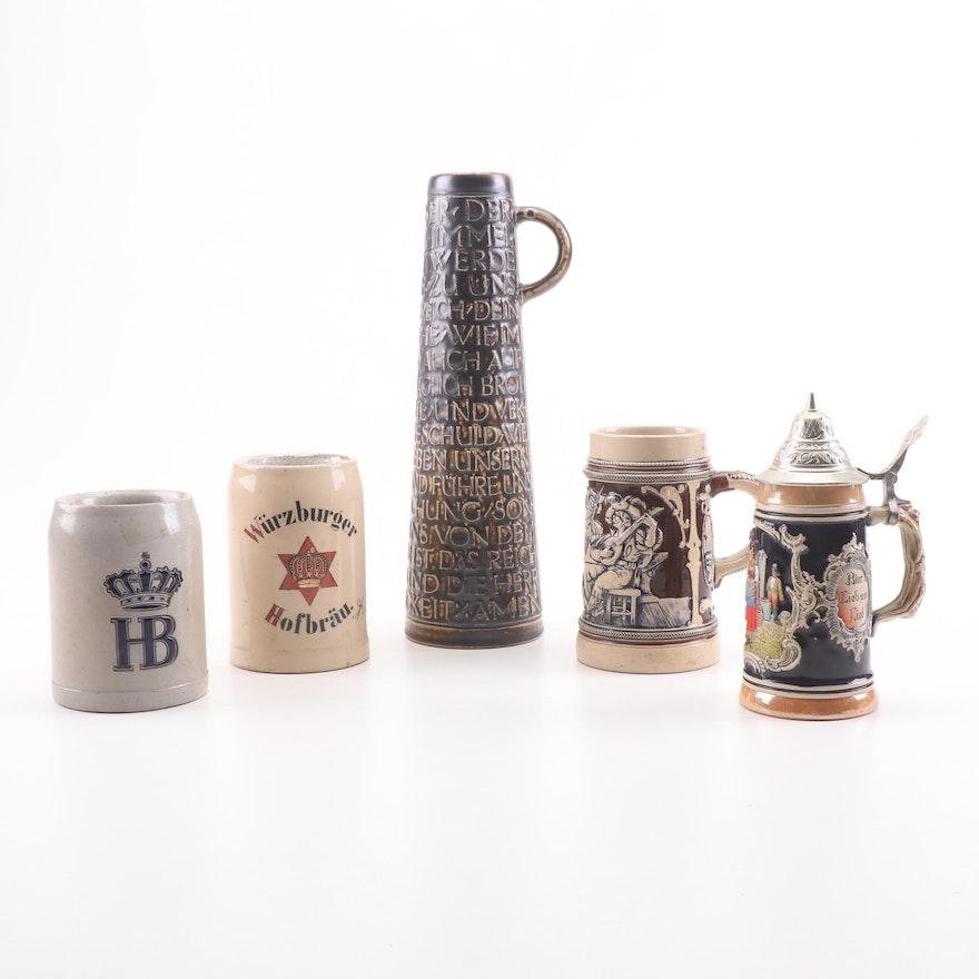 German Beer Stein Assortment Featuring Lords Prayer Stein
