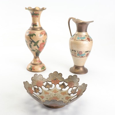 Indian Painted Brass Vase, Pitcher and Bowl