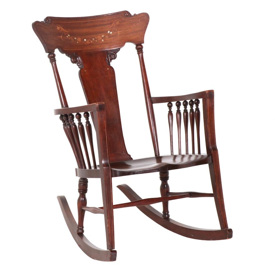 Late Victorian Mahogany Rocking Chair with Mother of Pearl Inlay