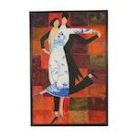 Rawdin Acrylic Painting of Dancing Couple