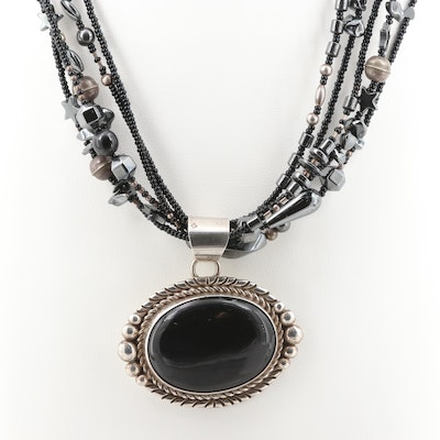 Southwestern Sterling Silver Black Onyx Pendant on Silver Tone Hematite Necklace