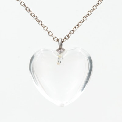 Tiffany & Co. Sterling Silver Rock Crystal Heart Charm with Cable Necklace