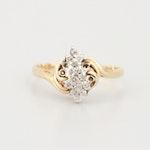 14K Yellow Gold Diamond Waterfall Ring
