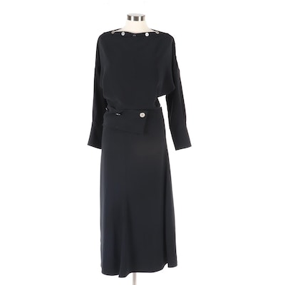 Victoria Beckham Black Silk Blend Blouse and Skirt with Hammered Buttons