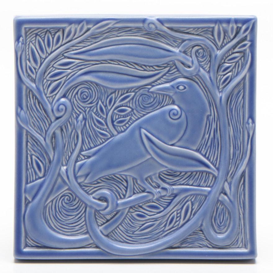 "Rookwood Pottery ""Timeless Beauty"" Faïence Tile with Bird Motif"
