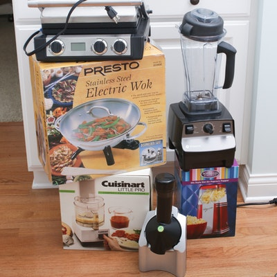Vitamix Blender, Panini Press, Electric Wok, Food Processor and Popcorn Maker