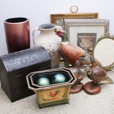 Pheasants, Vanity Mirror, Centerpieces, Orbs, Vases and More Home Decor