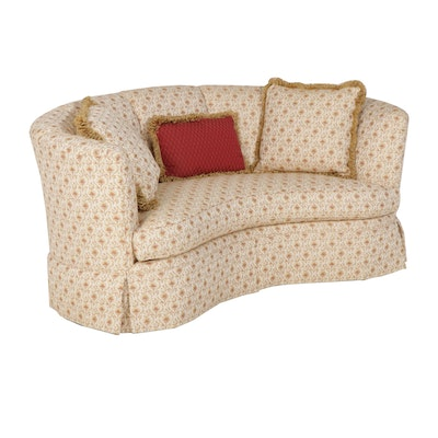 Contemporary Curved Upholstered Loveseat by Henredon