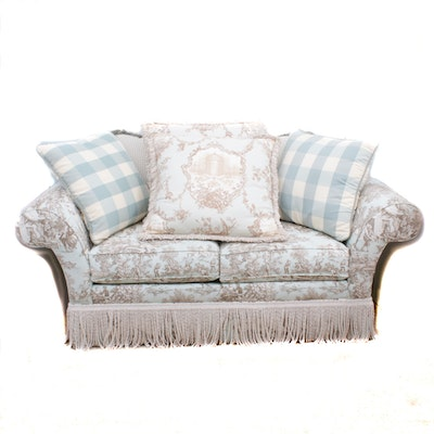 Ethan Allen Toile Upholstered Loveseat