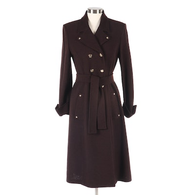 St. John Knit Double-Breasted Tweed Knit Coat with Tie Belt
