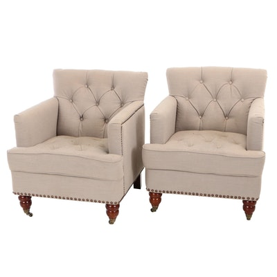 Pair of Abbyson Living, Button-Tufted Club Chairs