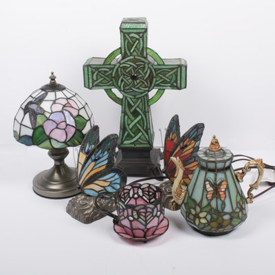 Stained Glass Figural Accent Lamps, Contemporary
