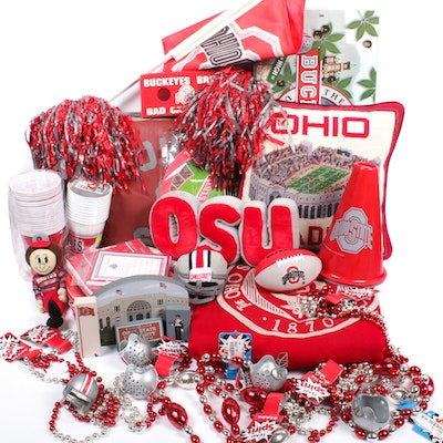 Ohio State Paraphernalia Including Buckopoly, Glasses, Blanket and Stadium Seats