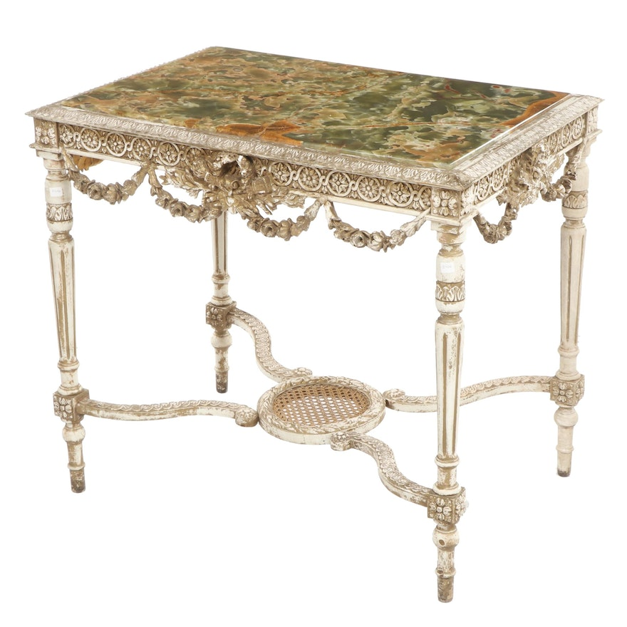 Italian Neoclassical Style Onyx, Composition and Wood Side Table, Circa 1870