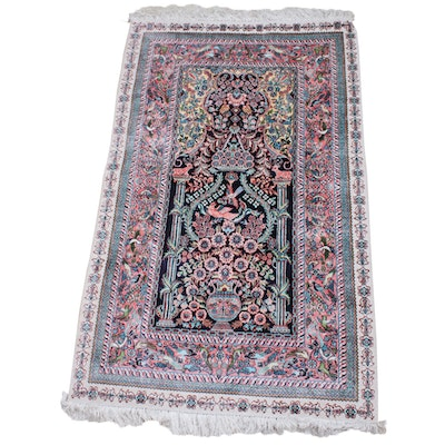 Hand-Knotted Persian Kerman Silk Blend Pictorial Rug