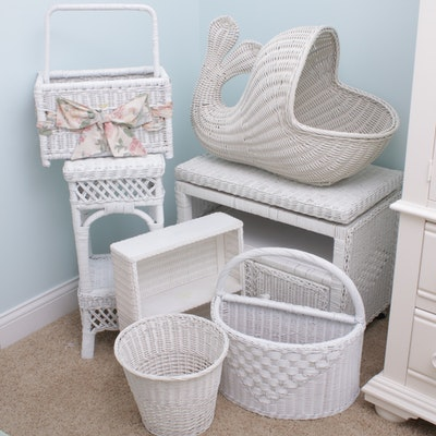 Painted Wicker Accent Furnishings