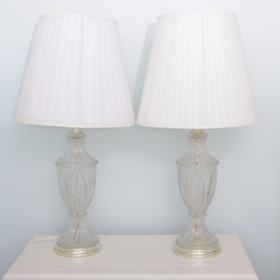 Pressed Glass Urn Form Table Lamps