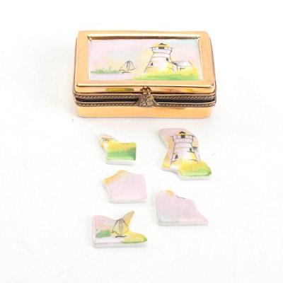 La Gloriette Limoges Hand-Painted Porcelain Painting Puzzle Trinket Box