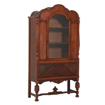 Late Victorian Display Case with Figural Veneer Decoration