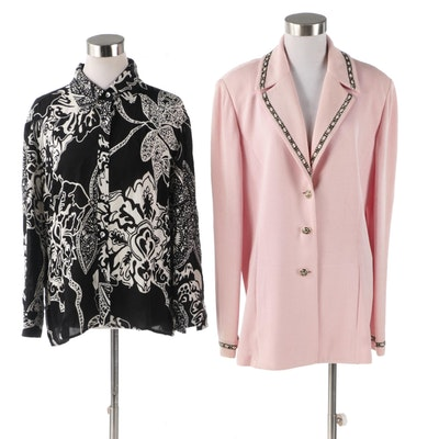 St. John Brand Knit Jacket and Printed Blouse