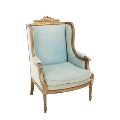 Louis XVI Style Giltwood Bergère Avec Orielles, Late 19th/Early 20th Century