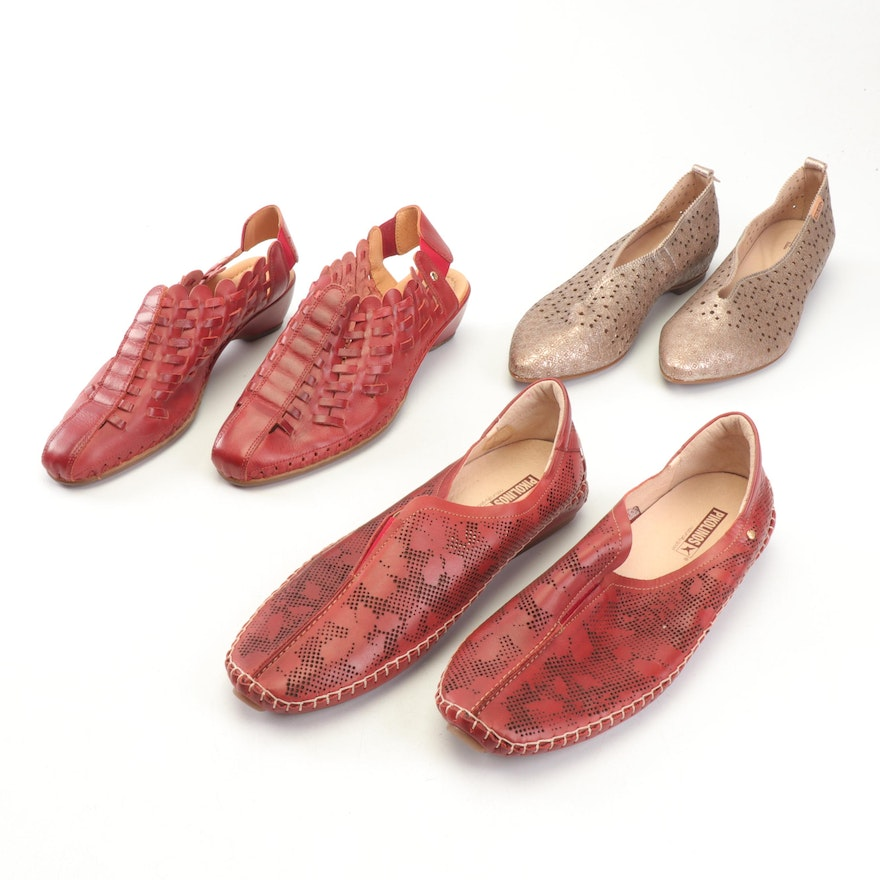 Pikolinos Laser Cut Leather Flats and Woven Leather Low Heeled Sandals