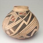 Marta Ortiz Slip Painted Earthenware Vase, Mid to Late 20th Century